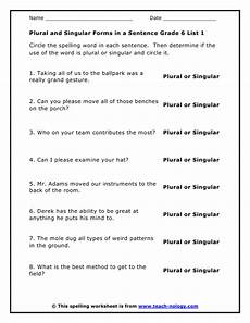 grade 6 list 1 plural and singular forms in a sentence