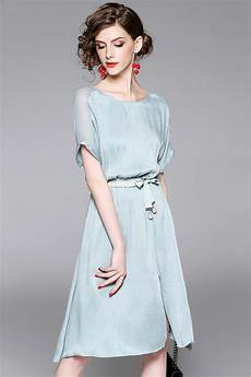 2017 new fashion women s elegant silk dresses short sleeves knee length ladies high quality