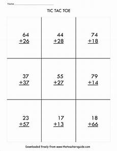 2nd grade math worksheet addition with regrouping two digit addition with regrouping tic tac toe math