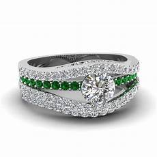 tension crossover diamond wedding ring with emerald in 14k white gold fascinating diamonds