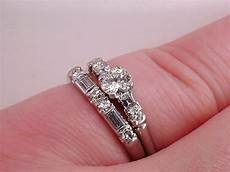 vintage antique art deco 1 4ct diamond platinum wedding ring band