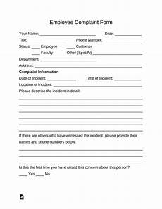 free employee complaint form pdf word eforms free fillable forms