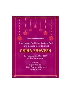 invitation card format for griha pravesh griha pravesh invitations printdon
