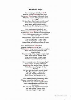 animal boogie worksheets 13809 animal boogie song worksheet free esl printable worksheets made by teachers