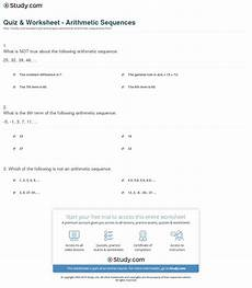 arithmetic sequence worksheet with answers quiz worksheet arithmetic sequences study com