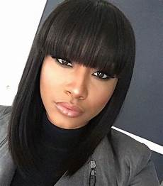 lob with china bangs achieve this look with mayvenn s brazilian straight natural hair styles