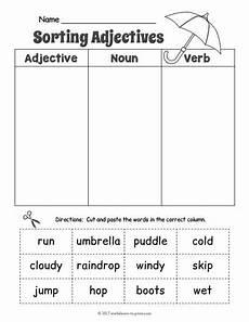 free printable rainy day adjective sorting worksheet adjective worksheets adjective