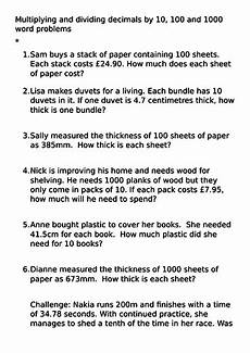division of decimals word problems worksheets 7571 year 5 multiply and dividing decimals by 10 100 and 1000 word problems 28 2 18 teaching resources