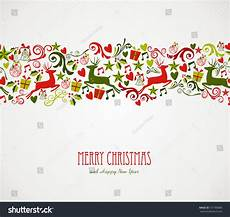 merry christmas decorations elements seamless pattern border vector file organized in layers