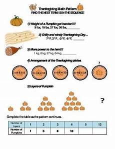 thanksgiving algebra worksheets high school 8433 thanksgiving math pattern find the next term s middle school and high school