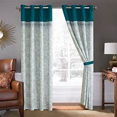 Teal Drapes Curtains by 4 P Moani Island Floral Scroll Curtain Set Teal