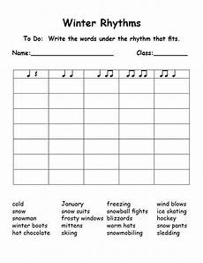 winter rhythms syllables this is great could be used for any word list elementary music