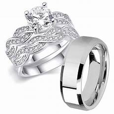 his hers 3 pcs men s stainless steel band infinity sterling silver wedding engagement