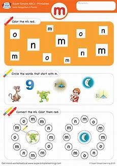 letter recognition phonics worksheet m lowercase simple