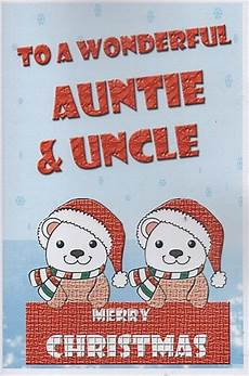 family christmas cards to a wonderful auntie uncle merry christmas