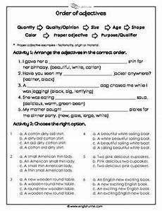 the order of adjectives worksheet grammar order of adjectives adjective worksheet order of