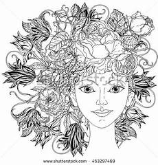 Mandala Frau - outline stock photos images pictures