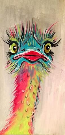 Bilder Zum Nachmalen Acryl Weise Vogelstrauss Bunt Acryl 15 X 30zur Zeit