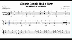 old mc donald had a farm free notes sheet music for beginners violin flute recorder oboe youtube