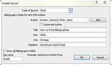 create a source for your reference citations with this dialog box