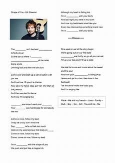 song worksheet shape of you by ed sheeran