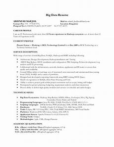 resume on big data hadoop big data resume