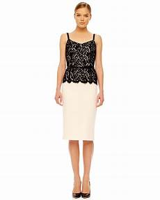 michael kors womens belted lace top dress in black white