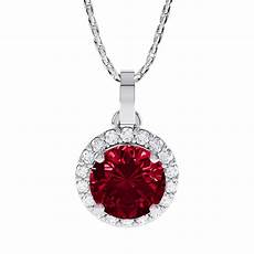 eternity 0 5ct ruby halo platinum plated silver pendant
