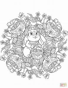 easter mandala with a rabit and buskets of eggs