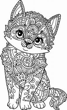 mandala cat puppy coloring page wecoloringpage