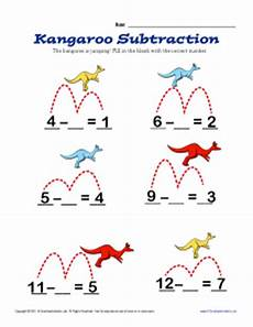 kangaroo subtraction kindergarten 1st grade math worksheets