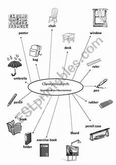mind mapping worksheets 11580 classroom objects mind map esl worksheet by judith10