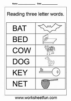 simple words worksheet three letter words reading