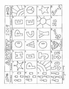 advent calendar coloring page for 2019 themes of