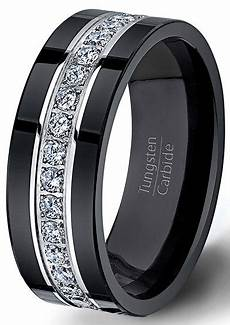 black wedding ring mens black tungsten ring fully stacked with brilliant diamond mens wedding band comfort fit mens