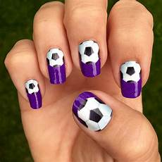 soccer nail wraps single soccer ball over a purple