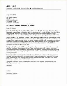 teaching assistant cover letter sle monster com
