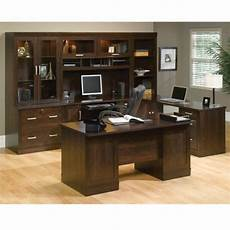 home office furniture suites dark alder exec office suite 65 5 quot w by sauder
