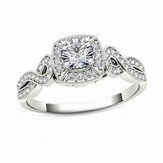 1 2 ct t w diamond square frame vintage style engagement ring in 14k white gold engagement