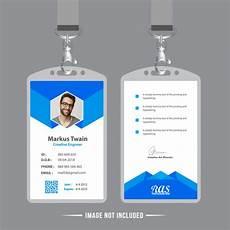 id card template gratis blue employee id card design template vector premium