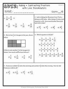 adding subtracting like fractions quiz 4th grade 4 nf 3