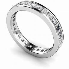 14k sterling silver princess diamond cut eternity wedding