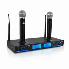 cordless microphone system pyle uhf 16ch wireless cordless dual mic microphone professional system chargers ebay