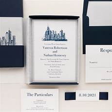 Chicago Wedding Invitations chicago themed wedding invitations navy silver
