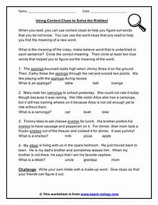 using context clues to solve the riddles context clues context clues worksheets teaching