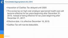 cadillac tax delayed until 2020 2016 developments in health and welfare plans