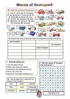 83 free esl means of transport worksheets