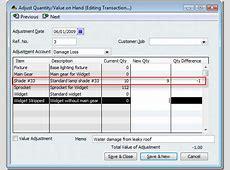 quickbooks inventory adjustment account