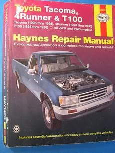 free car repair manuals 1998 toyota tacoma user handbook toyota haynes repair manual tacoma 4 runner t100