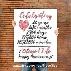 20th anniversary 20 year anniversary gift print wedding